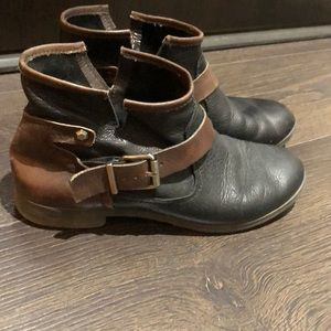 BCBG leather ankle booties